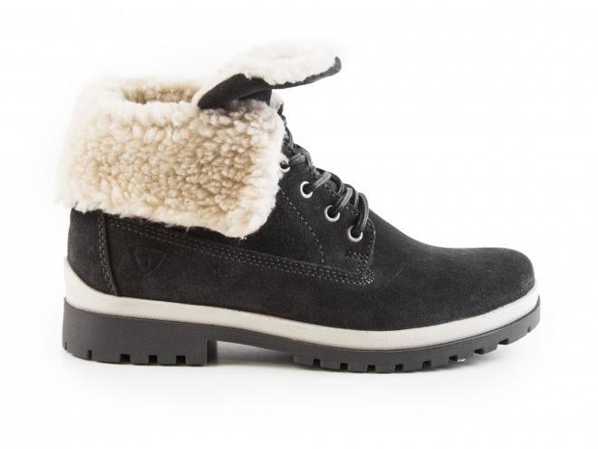 Tamaris - Dámské zateplené kožené kotníkové boty s přehybem 2v1 1-26254-29