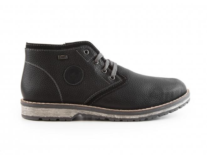 Rieker - Pánské kožené zateplené kotníkové boty se šněrováním i zipem a TEXovou membránou 39210-00