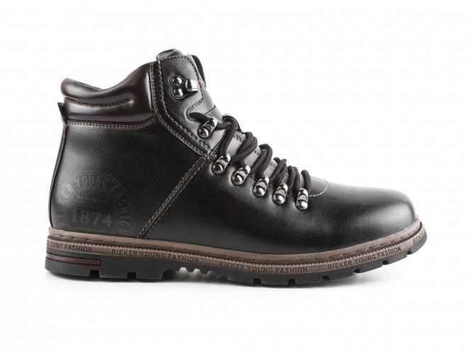Rieker - Pánské zimní kotníkové boty se šněrováním a zipem F9811-00