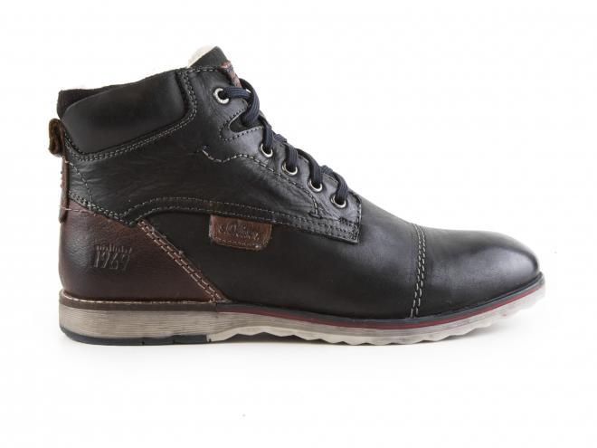 s.Oliver - Pánské kožené zateplené kotníkové boty se šněrováním a zipem 5-16211-29