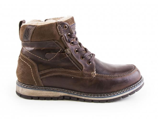 s.Oliver - Pánské kožené zimní kotníkové boty se šněrováním a zipem 5-16214-29