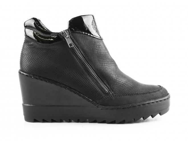 Rieker - Dámské kotníkové boty na klínku se dvěma zipy šíře G N2992-00 a9156f5cc1