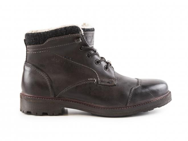 Bugatti - Pánské zateplené kožené kotníkové boty se šněrováním 311-37950