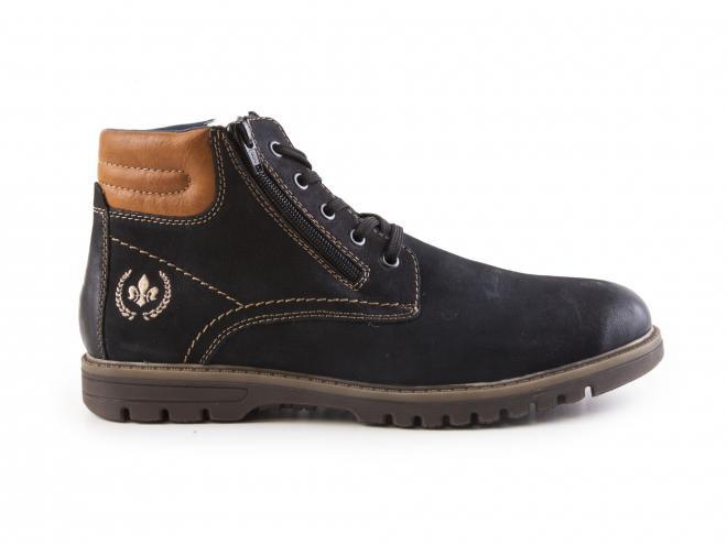 Rieker - Pánské kožené kotníkové boty s ovčí vlnou, šněrováním a dvěma zipy F3121-14