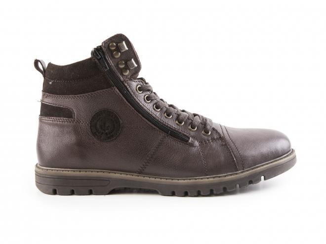 Rieker - Pánské kotníkové zimní boty s ovčí vlnou, šněrováním a dvěma zipy F3123-24