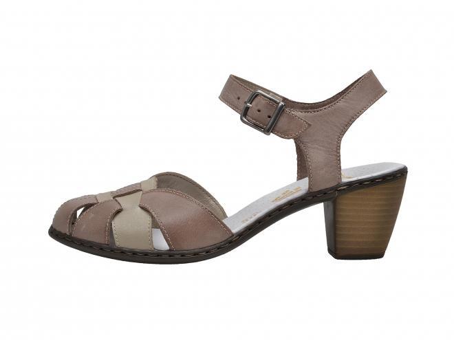 Rieker - Dámské proplétané sandály na podpatku šíře G 40968-64
