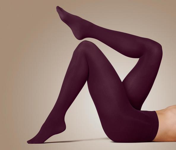 Neprůhledné punčochové kalhoty, 2 ks, švestkové a hnědé