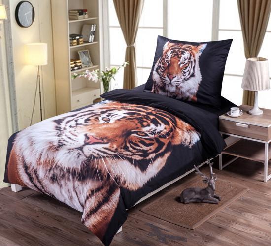 3D povlečení 140x200 + 70x90 - Black tiger