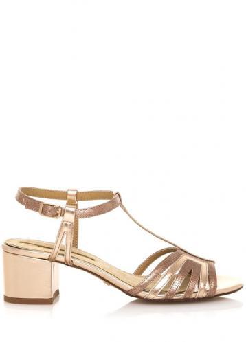 Béžové sandály na nízkém širokém podpatku Maria Mare 40