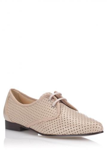 Béžové kožené děrované boty se špičkou Maria Jaén 41