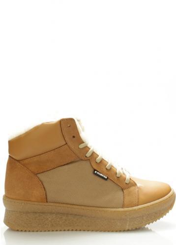 Béžové kožené boty s kožešinou Roobins 41