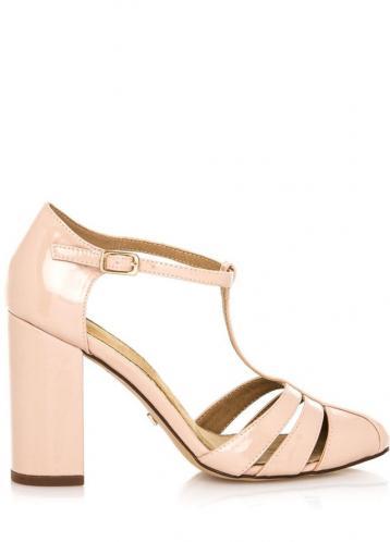 Béžové sandály na vyšším širokém podpatku Maria Mare 41