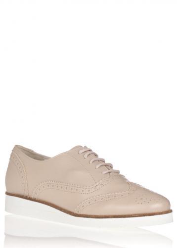Béžové kožené boty na bílé podrážce María Jaén 40