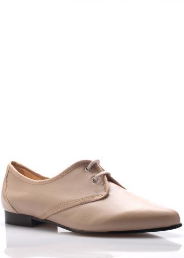 Béžové kožené boty se špičkou Maria Jaén 41