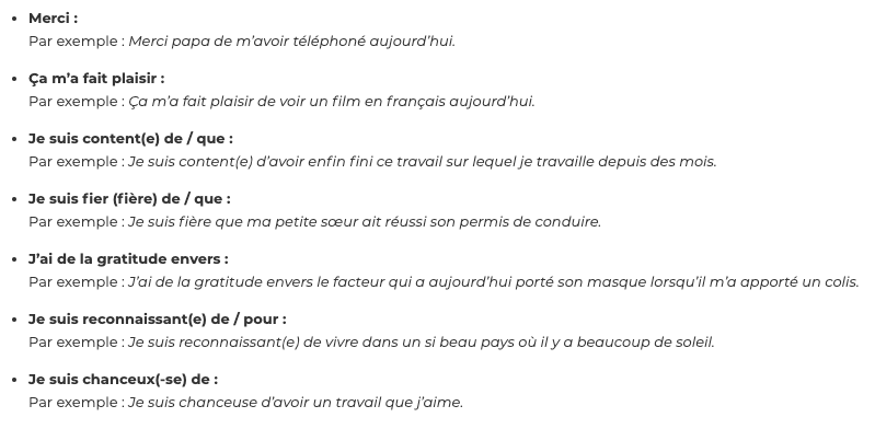 Sentences to use in french for a gratitude journal