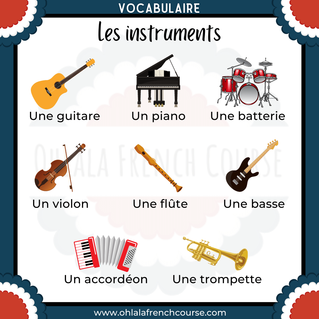 The vocabulary of musical instruments in French