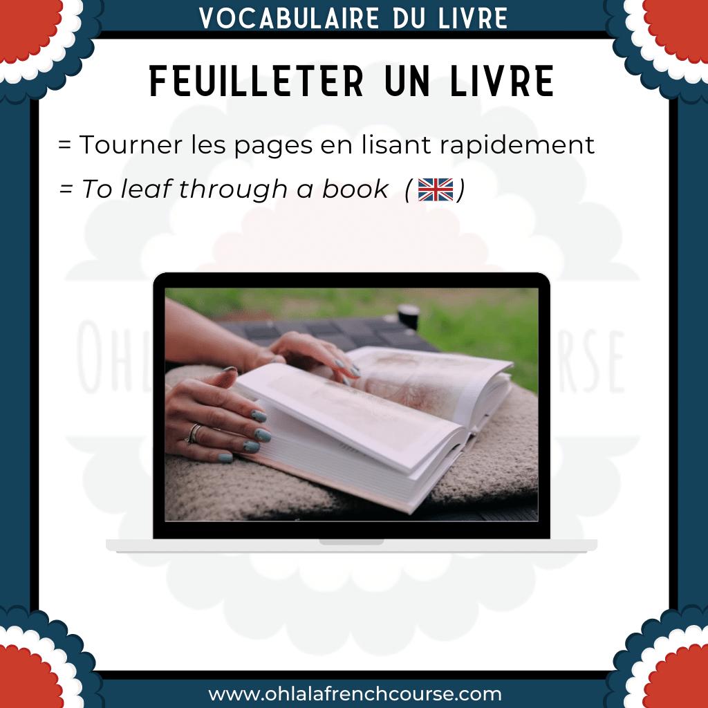 Vocabulaire du livre en français