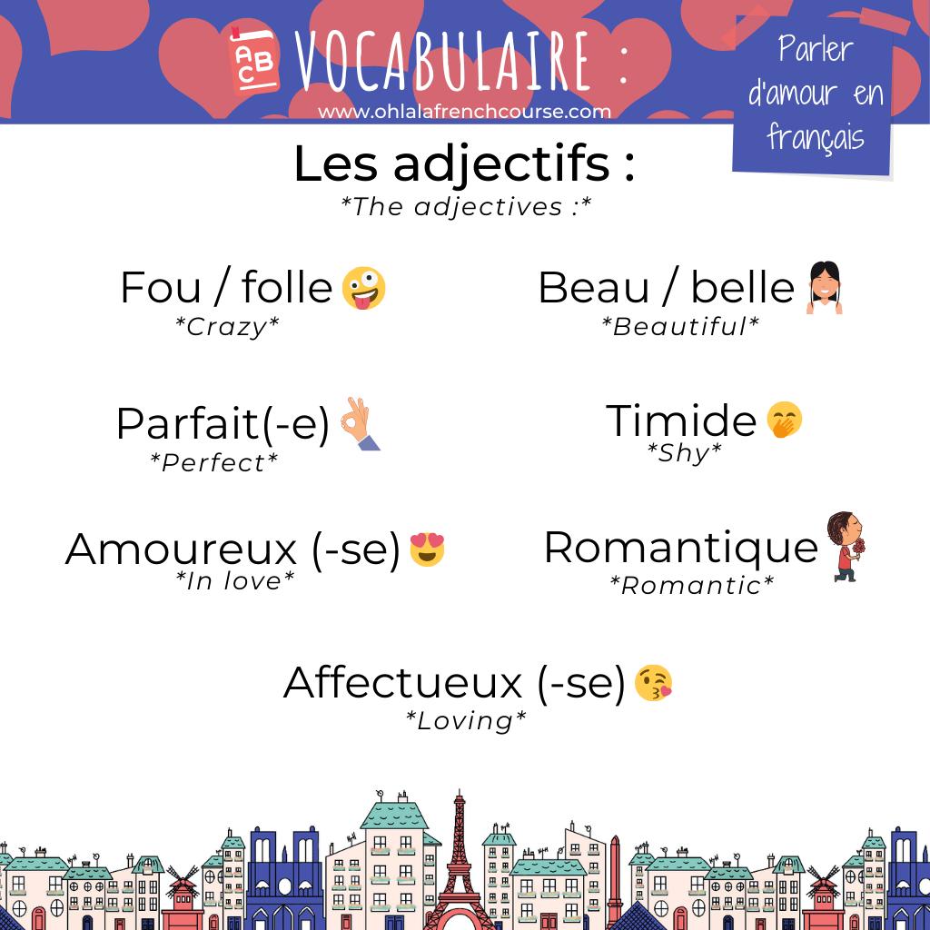 Les adjectifs de l'amour en français