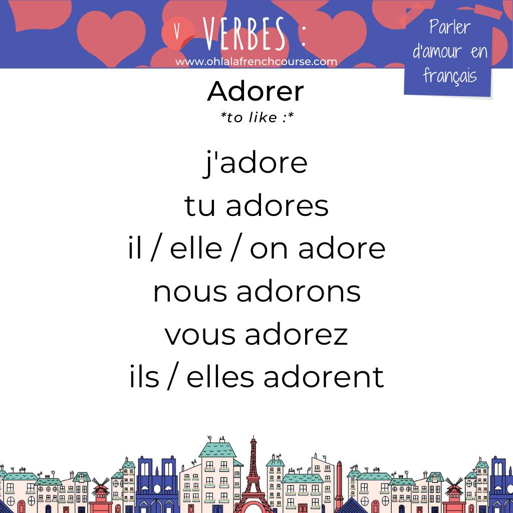 Le verbe adorer en français
