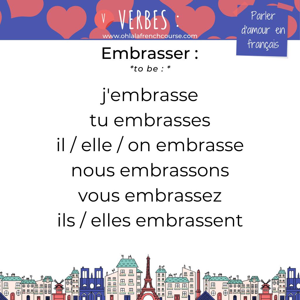 Le verbe embrasser en français