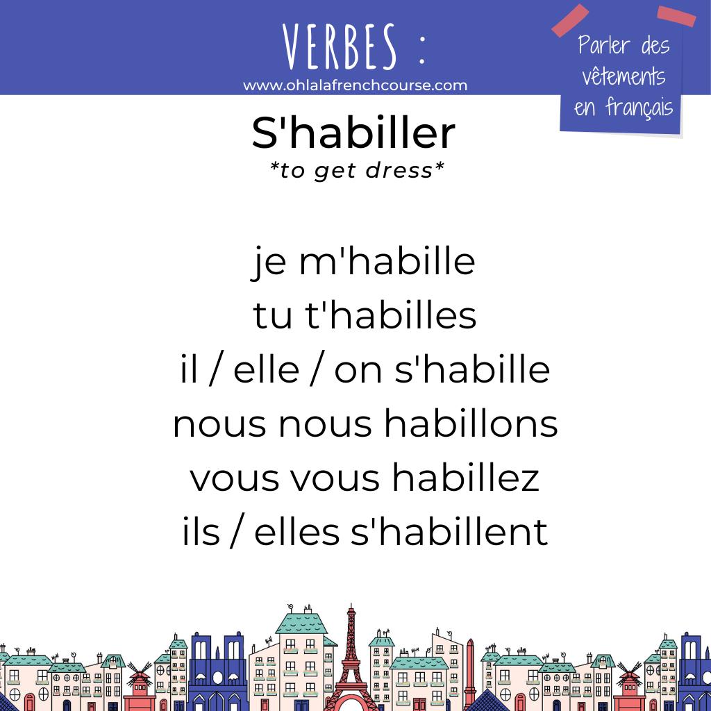 Le verbe s'habiller en français