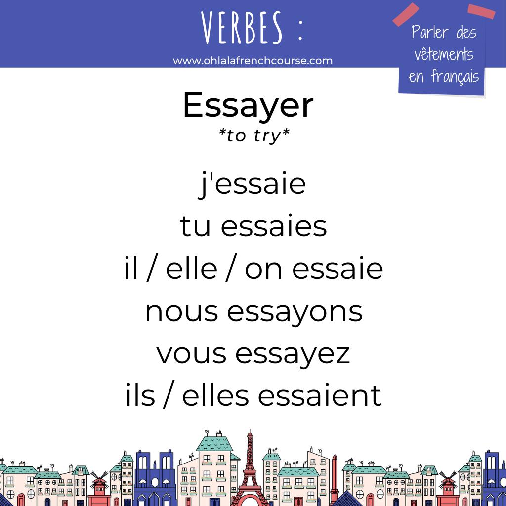 Le verbe essayer en français