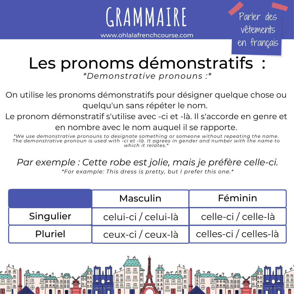 Les pronoms démonstratifs en français