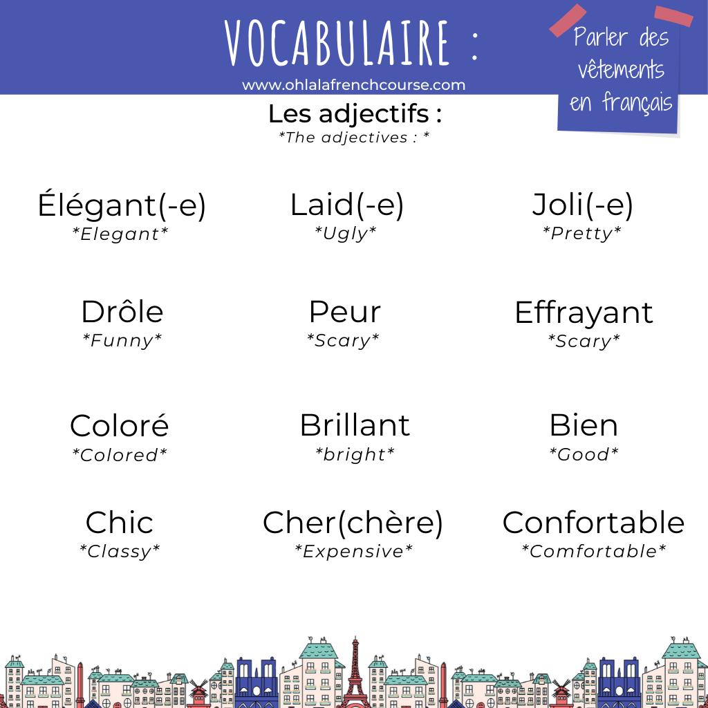Les adjectifs pour décrire le carnaval en français