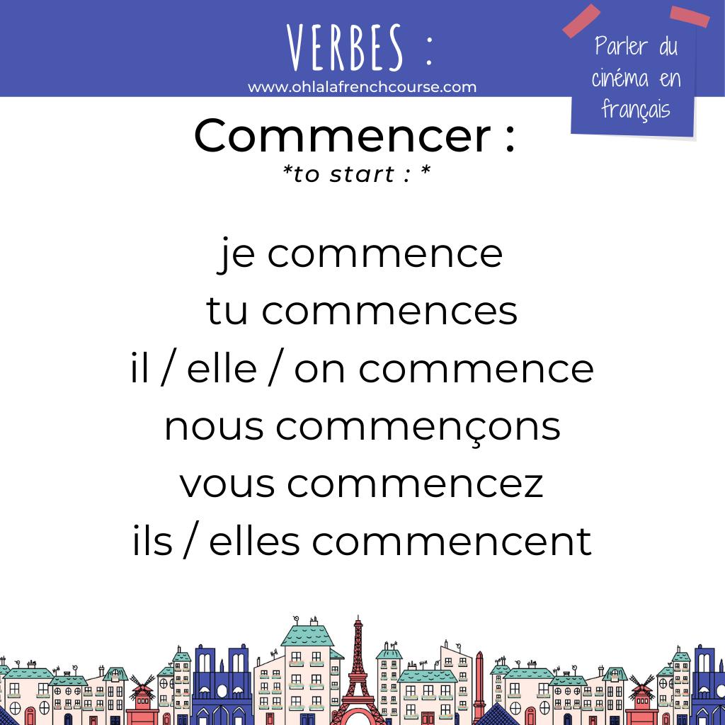 Le verbe commencer en français