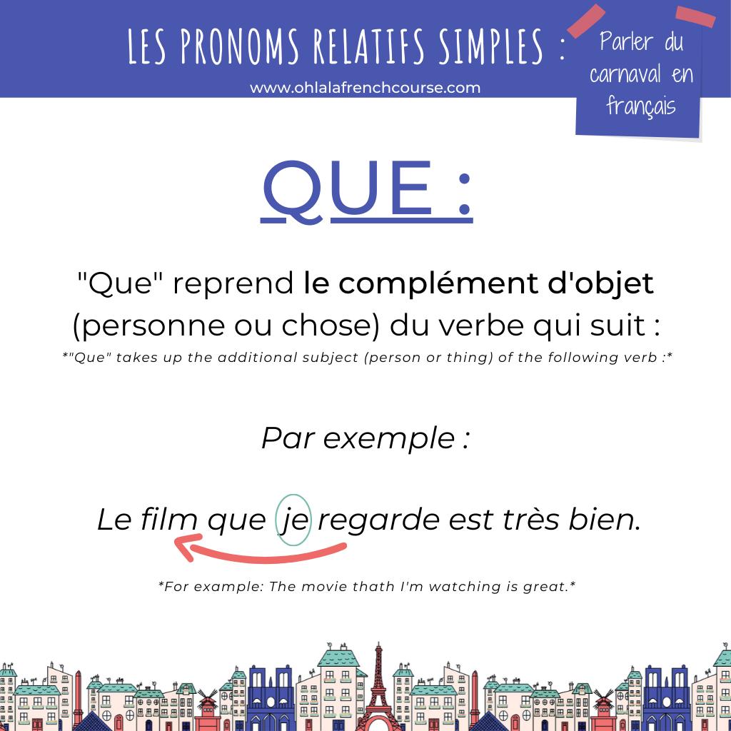 """Le pronom relatif simple """"que"""""""