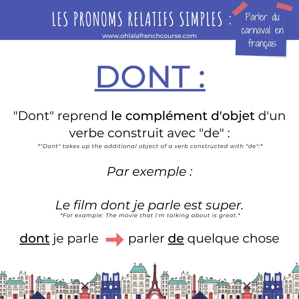 """Le pronom relatif simple """"dont"""""""
