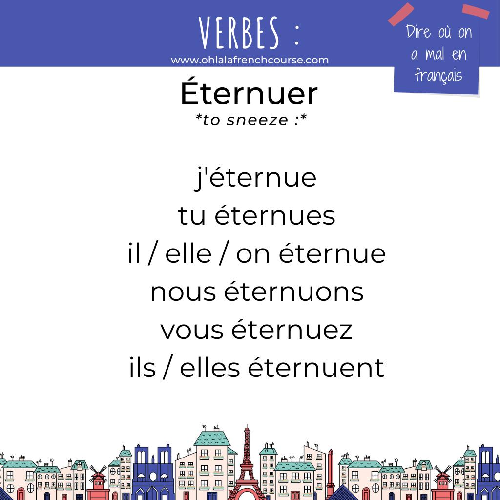 Le verbe éternuer en français