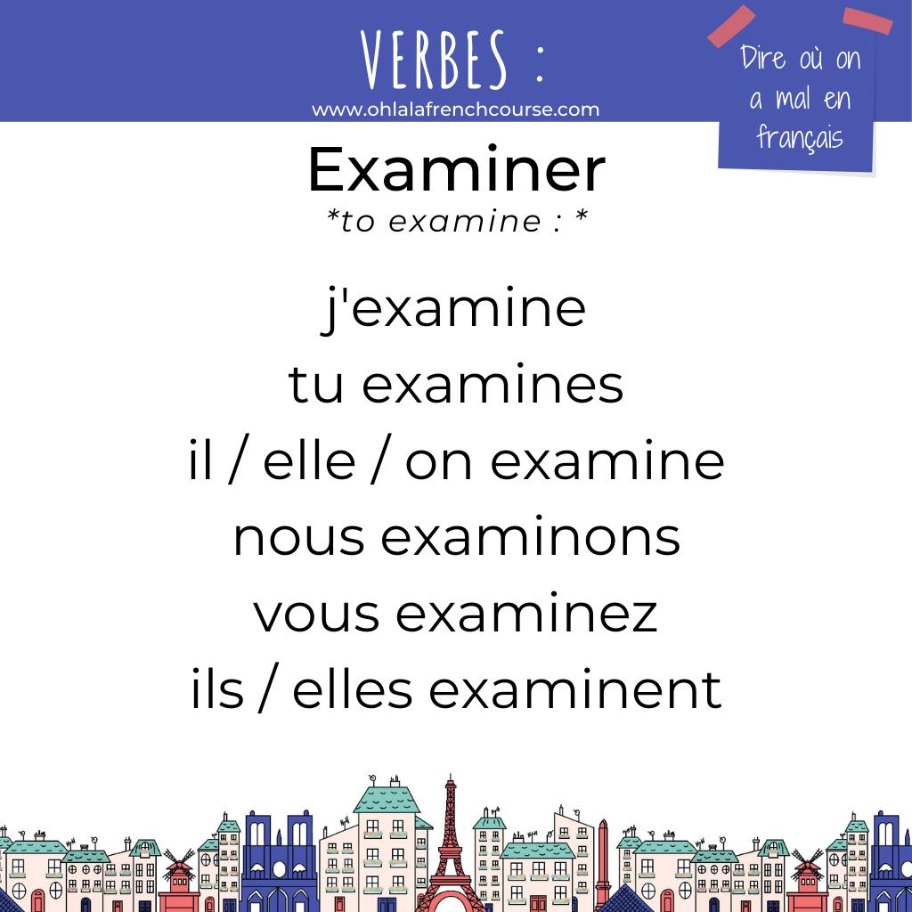 Le verbe examiner en français