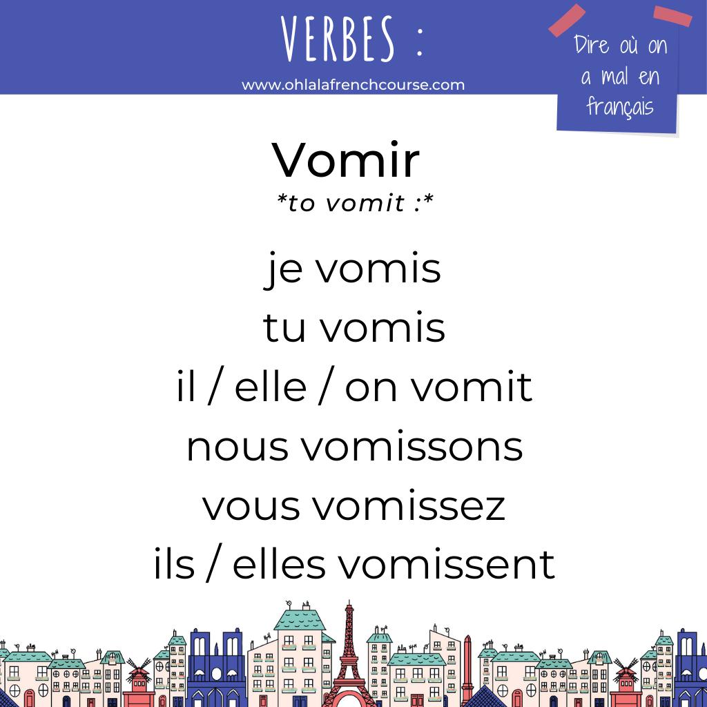 Le verbe vomir en français