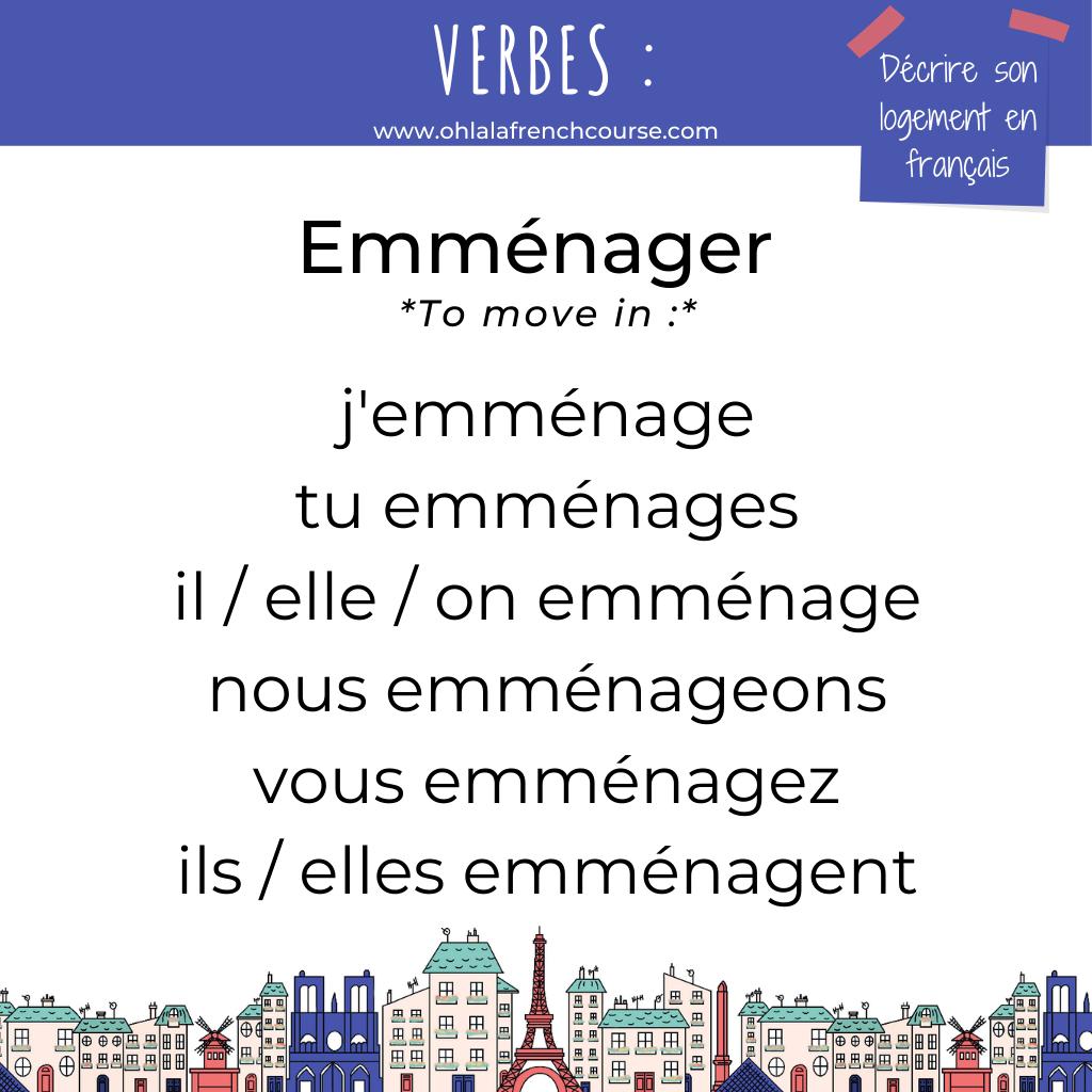 Le verbe emménager en français