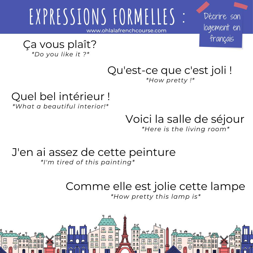 Les expressions formelles pour décrire son logement en français