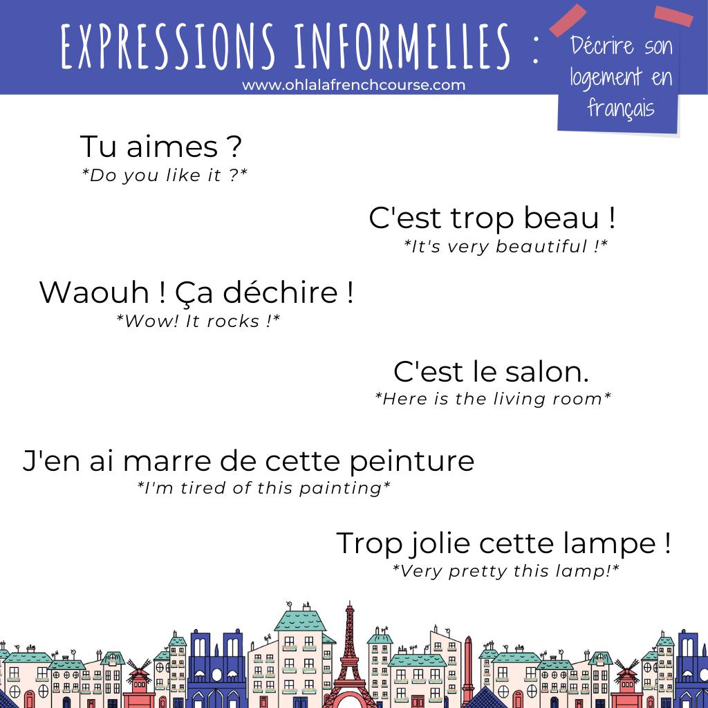 Les expressions informelles pour décrire son logement en français