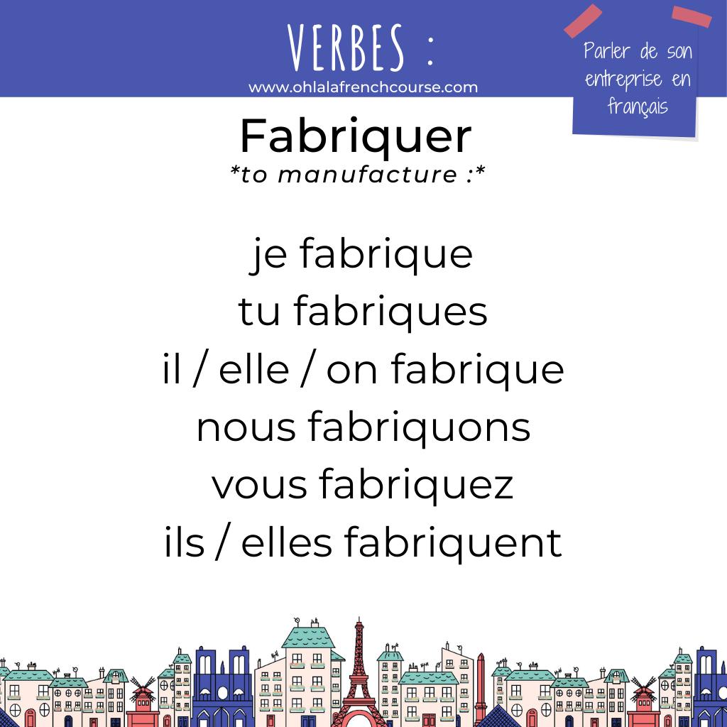 Le verbe fabriquer en français