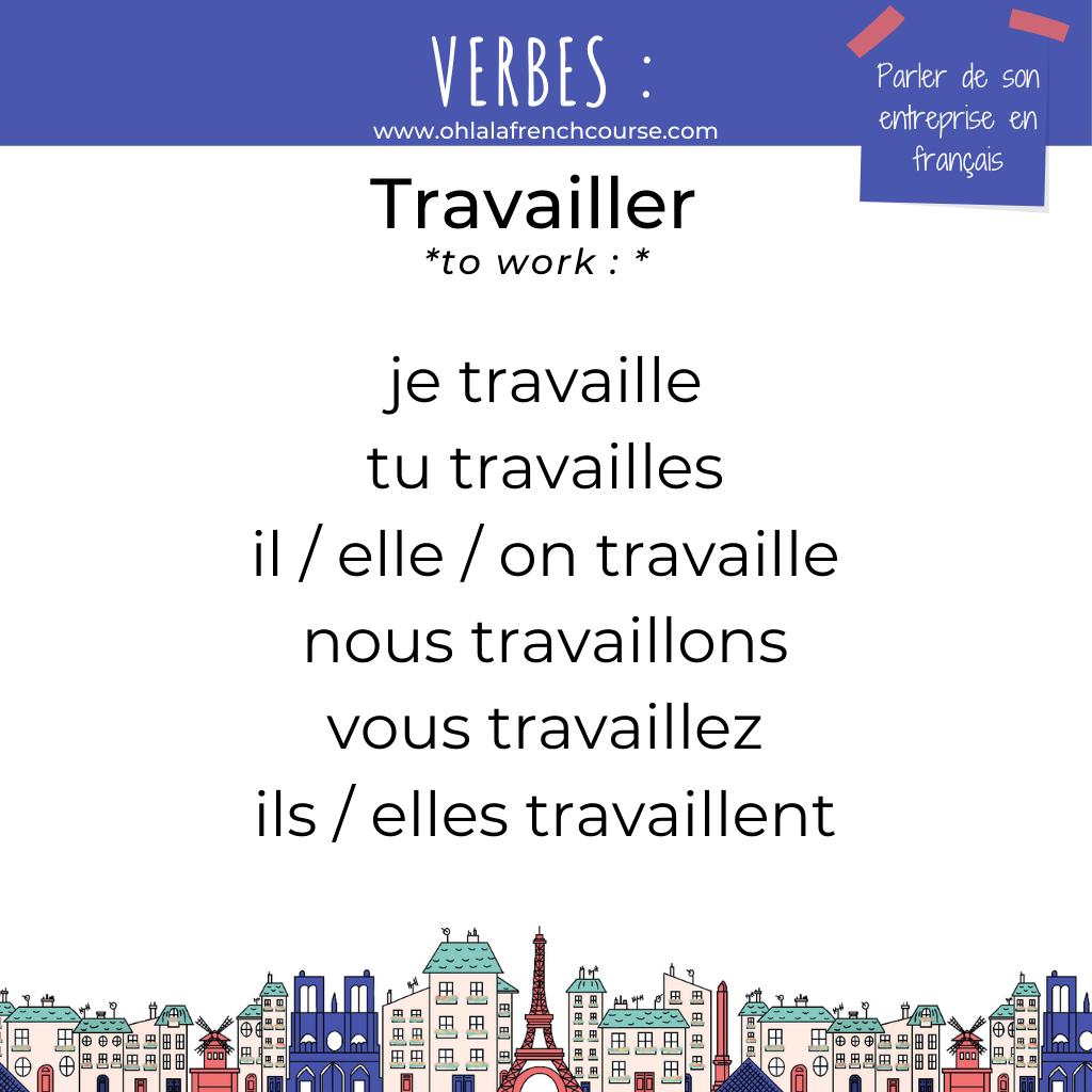 Le verbe travailler en français