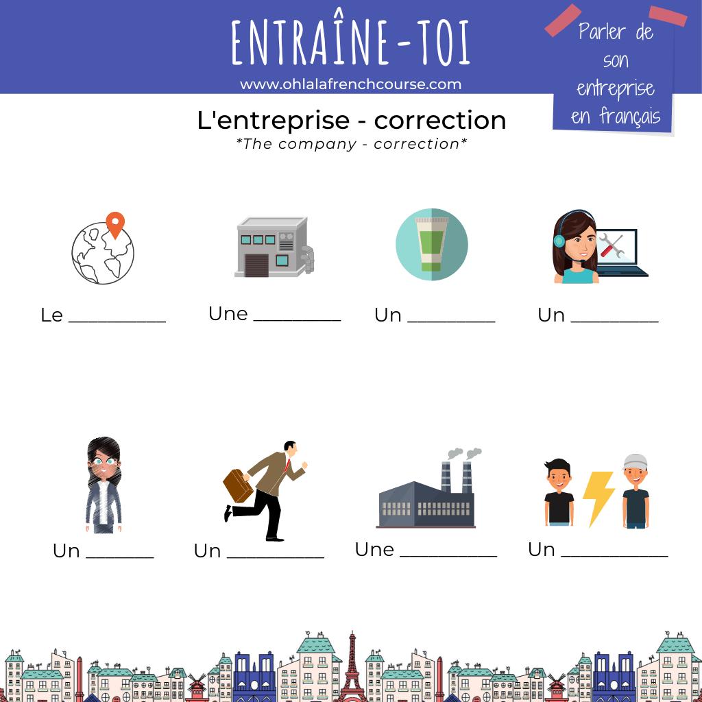 Entraîne-toi sur l'entreprise en français