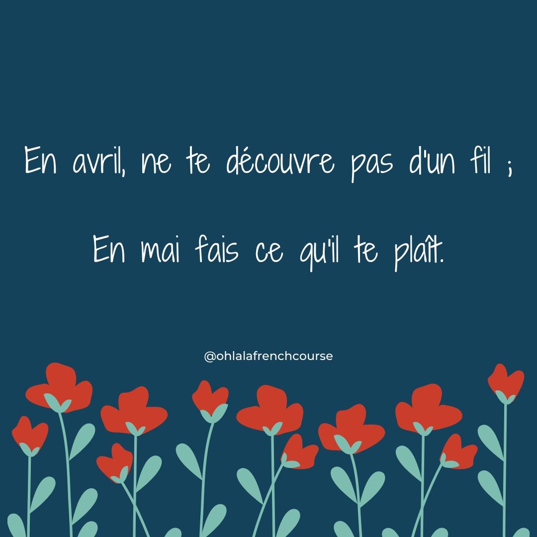 Dicton en français sur le printemps