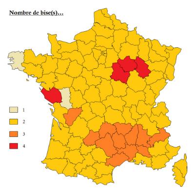 Le nombre de bises en France