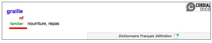 Définition du mot graille - reverso