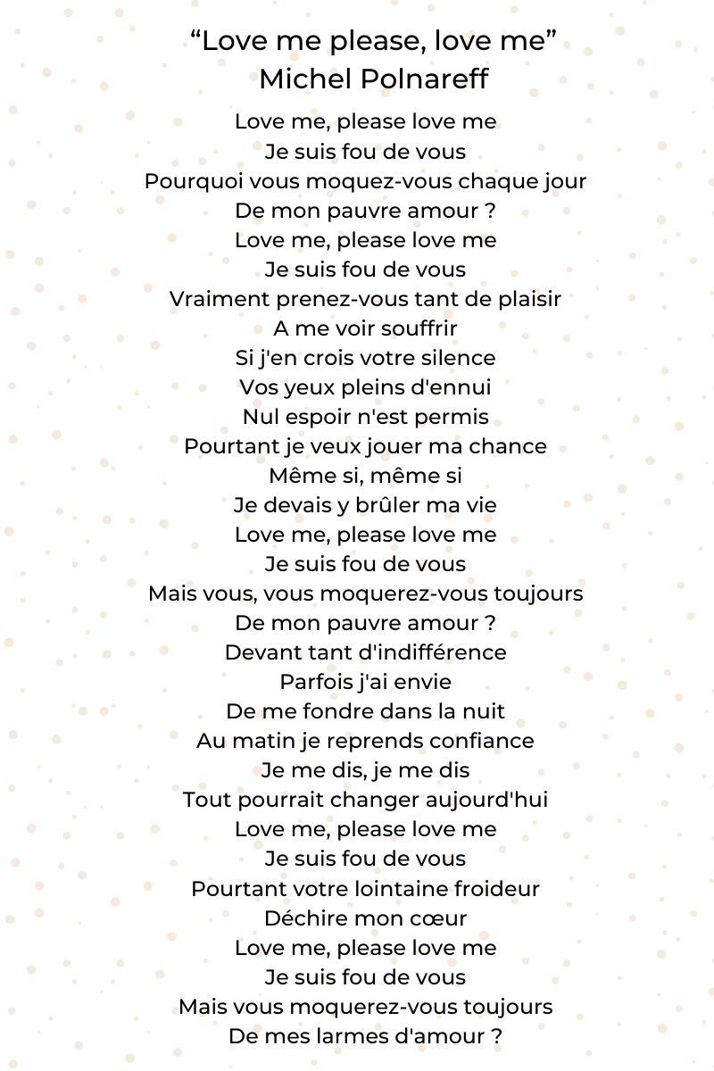 """""""Love me please, love me"""" de Michel Polnareff"""