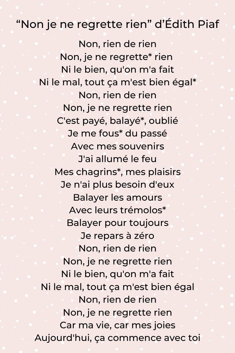 Non, je ne regrette rien d'Édith Piaf