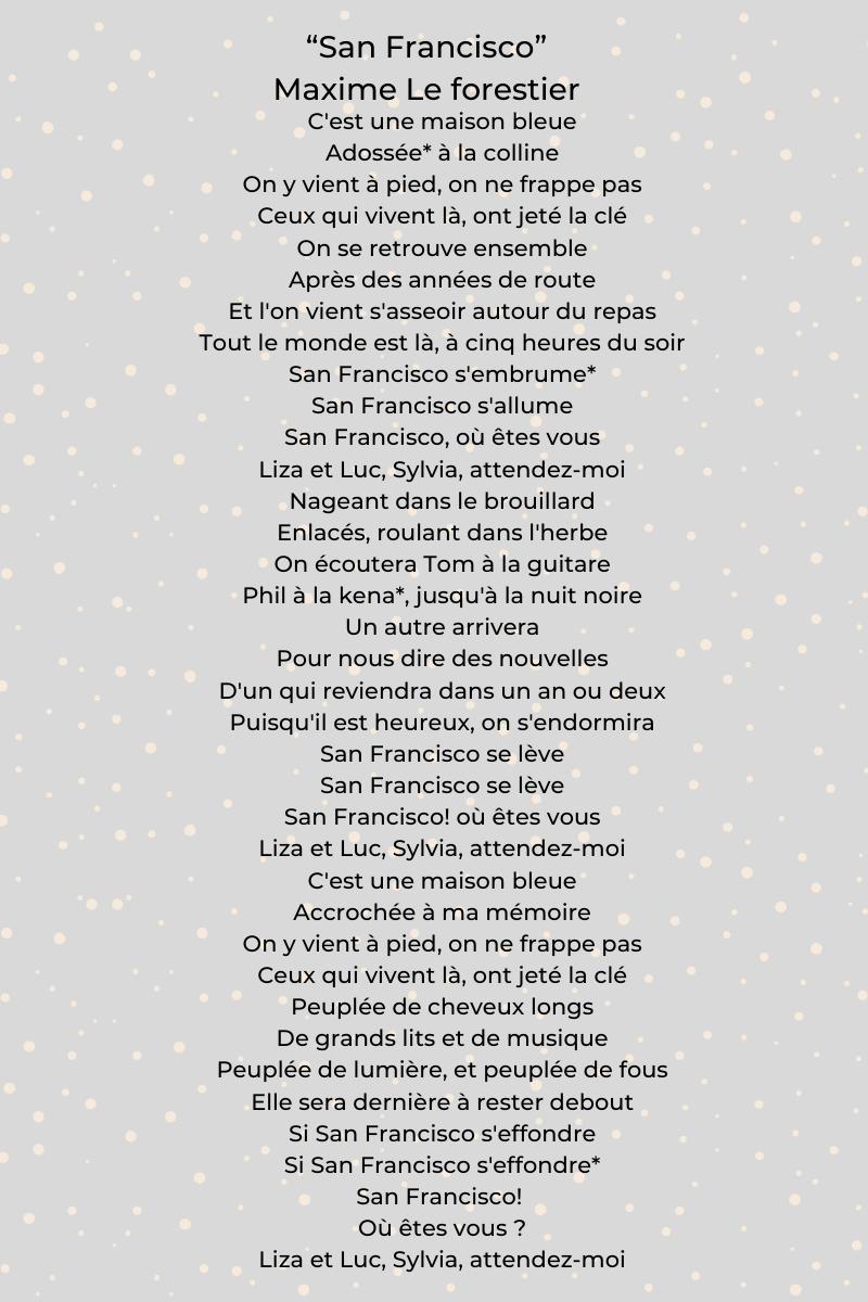 """""""San Francisco"""" de Maxime Le Forestier"""