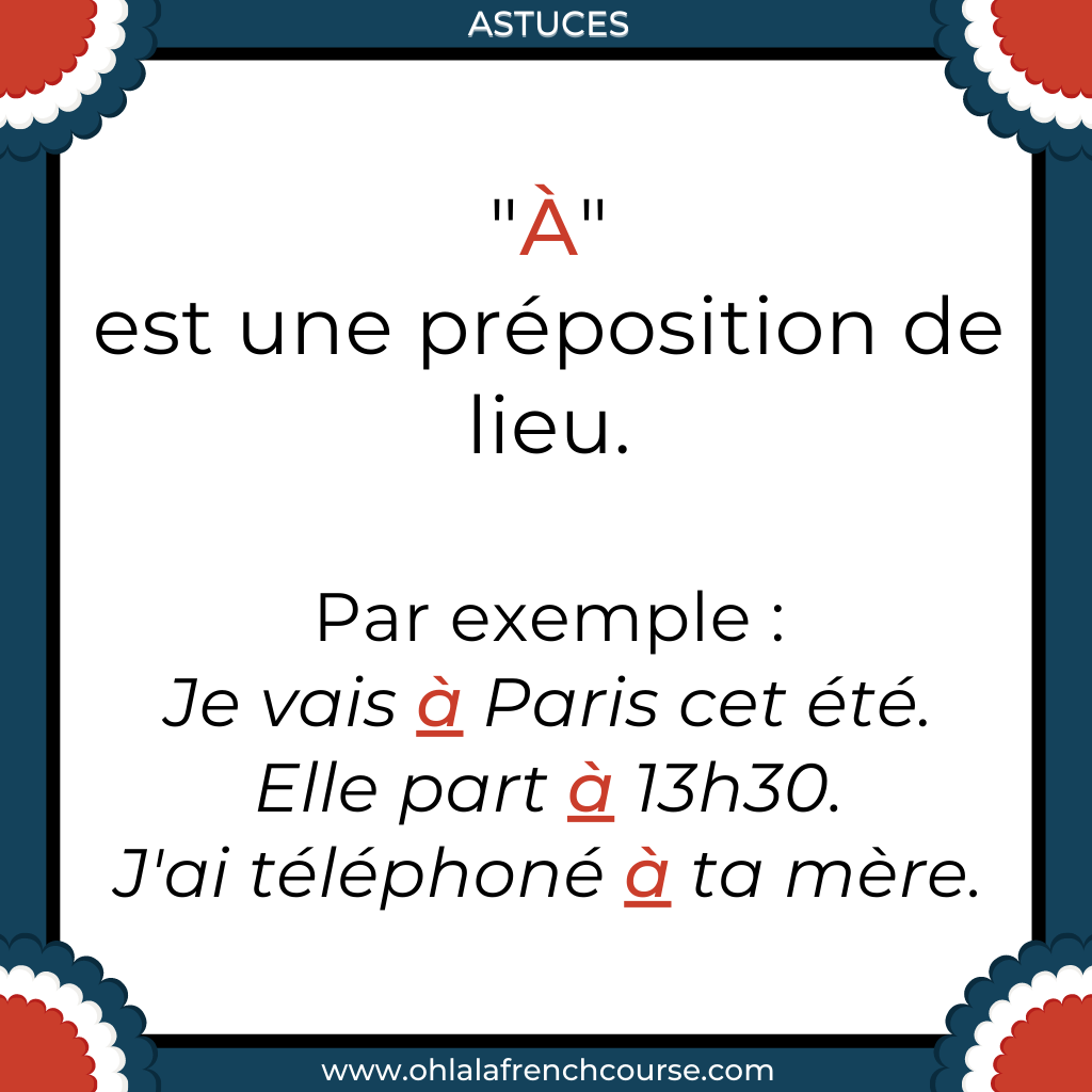 """Que représente """"à"""" en français ?"""