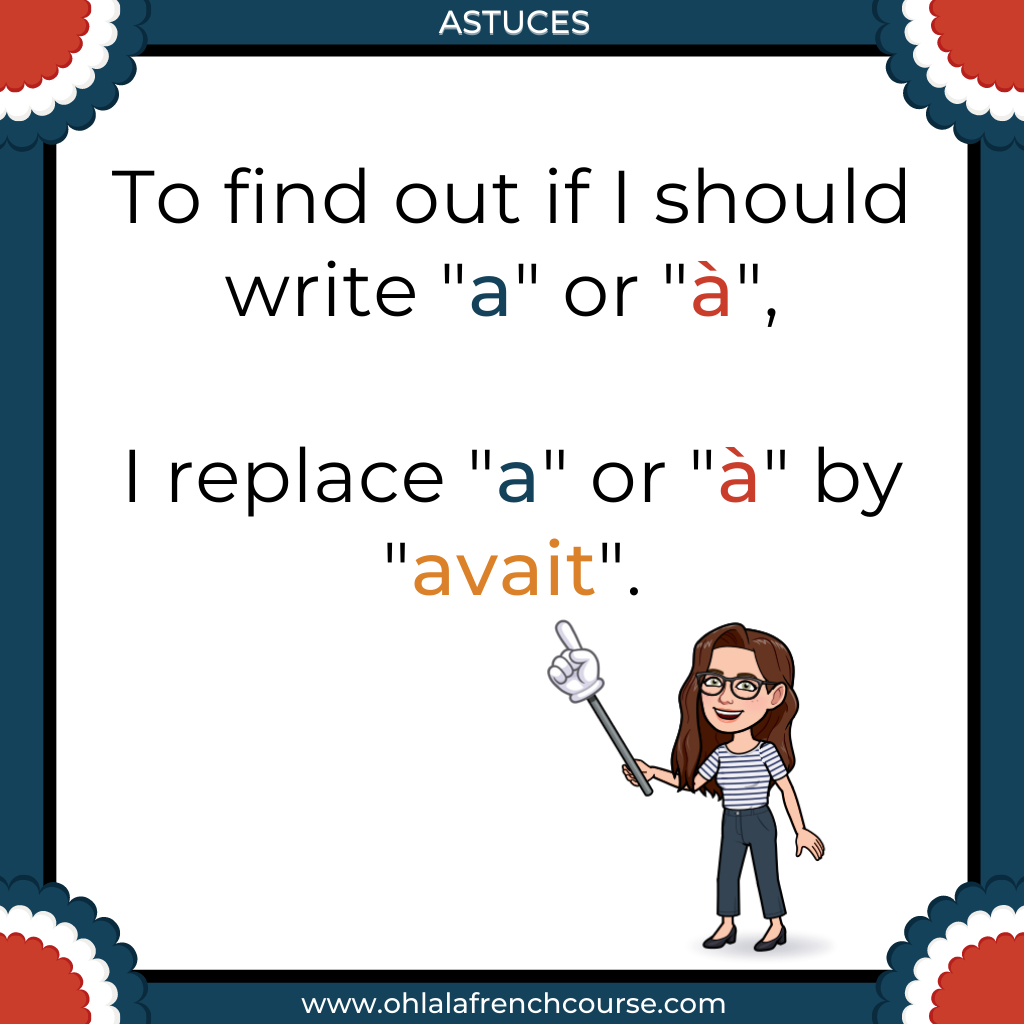 "How do I know whether to write ""a"" or ""à"" in French ?"