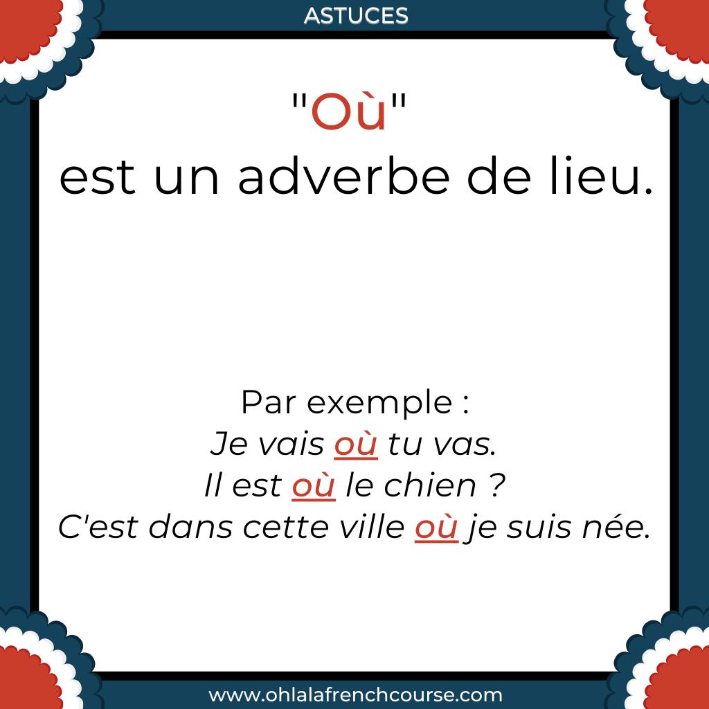 """Que représente """"où"""" en français ?"""