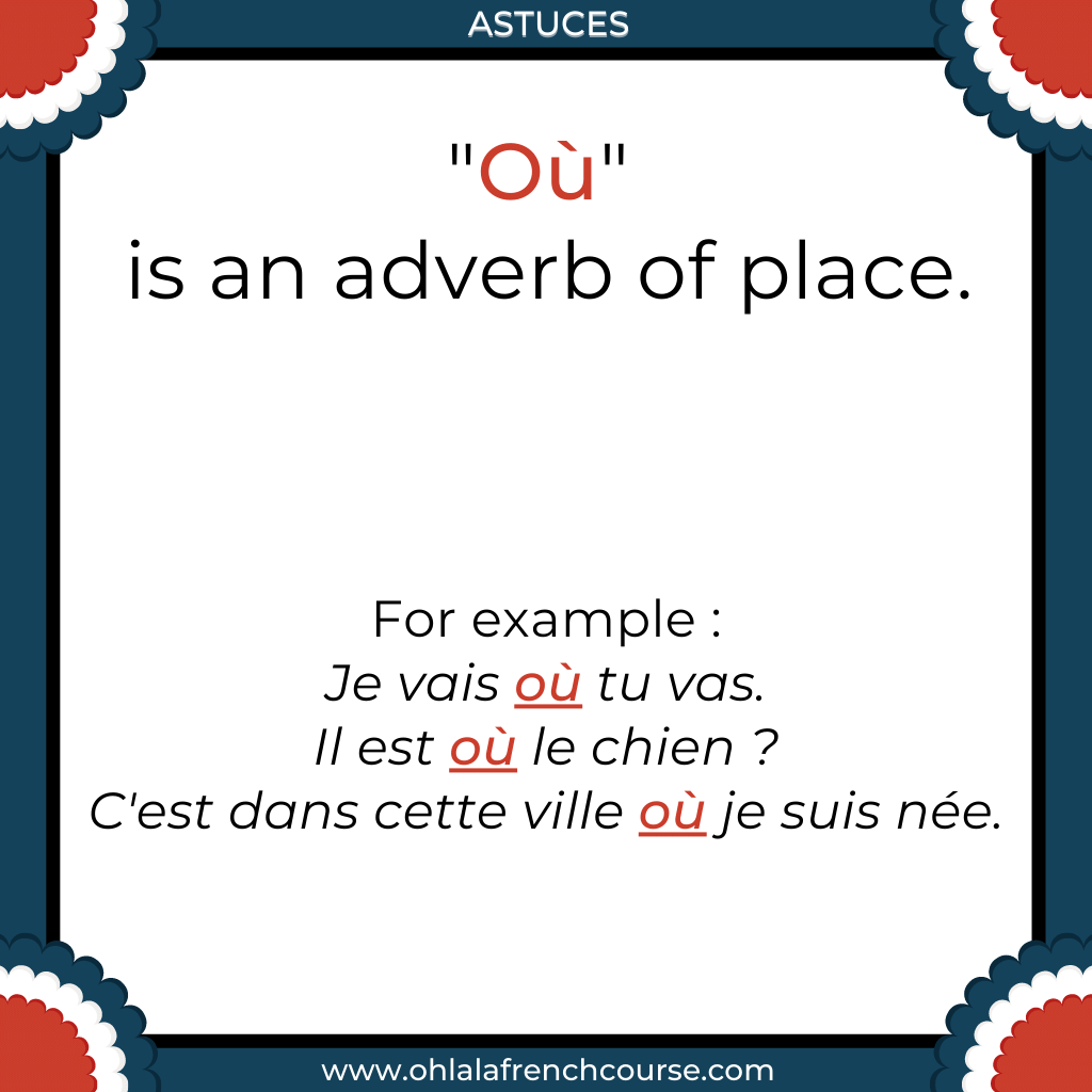 "What does ""où"" means in French?"